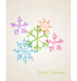 Merry Christmas hanging snowflake greeting card vector image vector image