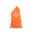 orange tombstone with skull and arrows vector image