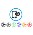 phone bitcoin sms rounded icon vector image
