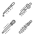 pipette icon set outline style vector image vector image