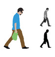 realistic colored of a man walking with a vector image