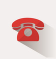red phone icon with shadow on a beige background vector image vector image