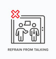 refrain from talking in elevator flat line icon vector image