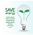 save energy bulb concept background realistic vector image vector image