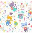 school seamless pattern for children with cute vector image vector image