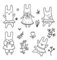 set of cute little cartoon hares set of cute vector image vector image