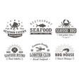 set of vintage seafood barbecuelogo templates vector image vector image