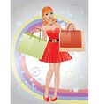 Shopping girl with red hair3 vector image vector image