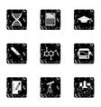 Study of science icons set grunge style vector image vector image
