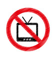 tv with denied sign vector image vector image