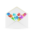 white envelope with puzzle pieces vector image vector image