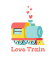 with locomotive and hearts vector image