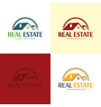 house roof and arrows moving company logo and icon vector image