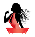 Silhouette of a girl in red vector image