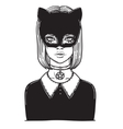 Beautiful Cat Woman with the Carnival mask Gothic vector image