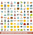 100 partnership startup icons set flat style vector image vector image