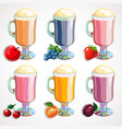 a cartoon set of fruit milk cocktails on white vector image