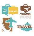 best travel agency promotional poster with plane vector image vector image