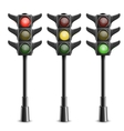 Black Traffic Lights On Pole vector image vector image