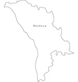 Black White Moldova Outline Map vector image vector image