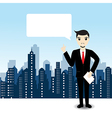 Businessman on city landscape background vector image vector image