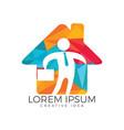 businessman with bag house shape logo design vector image vector image