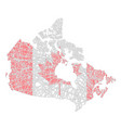 canada map shaped on tangled textured national vector image