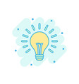 cartoon colored halogen lightbulb icon in comic vector image