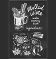 chalk sketch drawing set mulled wine vector image vector image