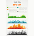 city skyline colored sets city districts banners vector image vector image