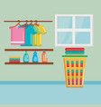 clothes with laundry service icons vector image vector image