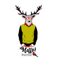 colorful of deer in retro clothes and vector image vector image
