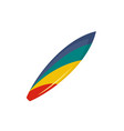 colorful surfboard icon flat style vector image vector image