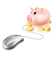 computer mouse connected to piggy bank vector image vector image