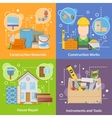 Construction Materials 2x2 Icons Set vector image vector image
