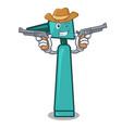 cowboy otoscope character cartoon style vector image