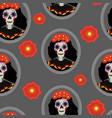 dia de los muertos calavera katrina seamless vector image vector image