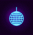 disco ball neon sign vector image vector image