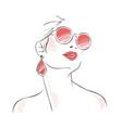 Expressive woman portrait with sunglasses vector image