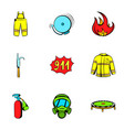 firecloth icons set cartoon style vector image vector image
