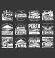 fishing sport fish hooks and lure rods icons vector image vector image