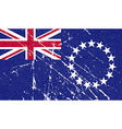 Flag of Cook islands with old texture vector image