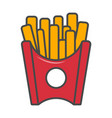 french fries in paper box isolated icon vector image vector image