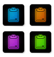 glowing neon clipboard with document icon vector image vector image