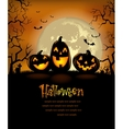 Halloween background with scary pumpkins vector image vector image
