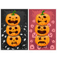Halloween pumpkins and background set 4 vector image vector image