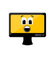 isolated surprised computer screen emote vector image vector image