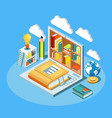 isometric online education composition with laptop vector image vector image
