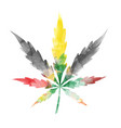 jamaican watercolor marijuana leaf isolated on vector image