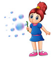 little girl blowing bubbles vector image vector image